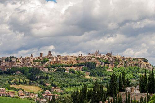 Orvieto, Viduramžių Miestas, Umbria, Italy, Viduramžiai, Kraštovaizdis, Paminklas, Turizmas, Miestas, Miestas, Sienos, Dangus