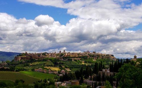 Orvieto, Umbria, Viduramžių Miestas, Italy, Viduramžiai, Kraštovaizdis, Paminklas, Turizmas, Miestas, Miestas, Sienos, Dangus