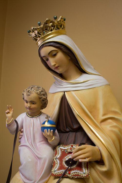 mūsų moterys kalno karmelio,katalikų šventasis,katalikų,karmelitas,statula,karmelis,krikščionybė,mūsų ponia,madonna,kūdikis jesus