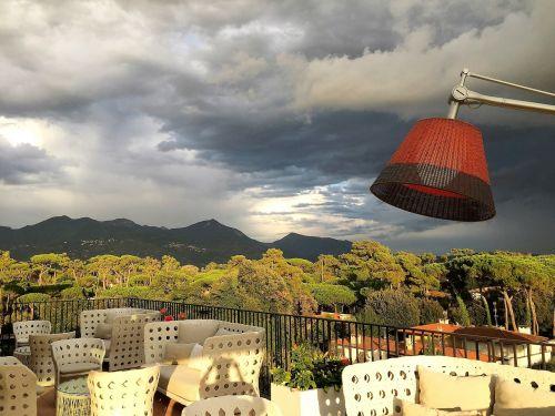 perspektyva,terasa,viešbutis,baras,holas,dusk,Persiųsti,gewitterstimmung,vakaras,debesų danga,dangus,kraštovaizdis,griauna,debesų formavimas,grasinanti,nuotaika