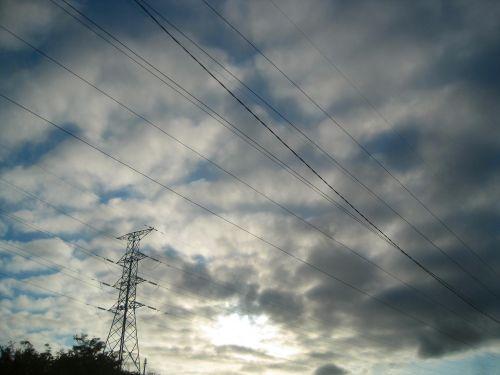 kabeliai, pilonas, elektrinis, debesys, mirgėjimas, kabeliai su debesimis