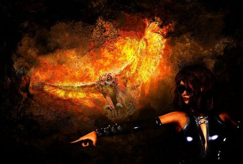 pelėdos,Ugnis,liepsna,moteris,fantazija,paukštis,šviesa,tamsi,plėšrūnas,liepsna,karštas,skristi,phoenix,plakatas