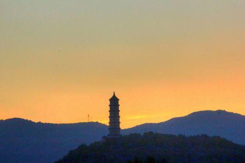 pagoda, dusk, kalnai, kraštovaizdis, vaizdingas, saulėlydis, pagoda per dusk
