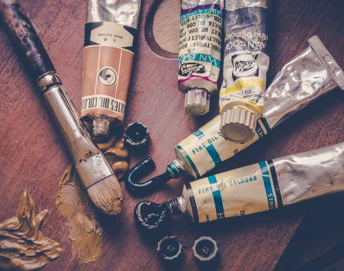 dažyti,šepetys,dažymas,hobis,kūrybingas,spalvos,menininkas,paletė,spalva,dažai,aliejus,menas,kojinės,dažų vamzdžiai