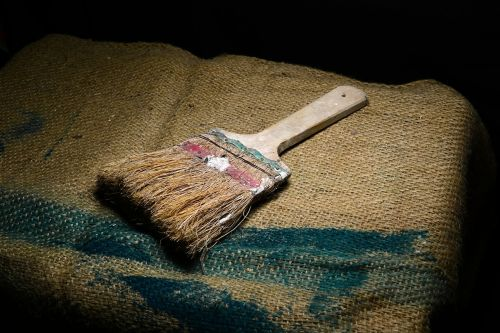 dažų teptuku,senas teptukas,maišas,Senovinis,šviesos tapyba,paniuręs,nuobodus,Šri Lanka,Mawanella,ceilonas