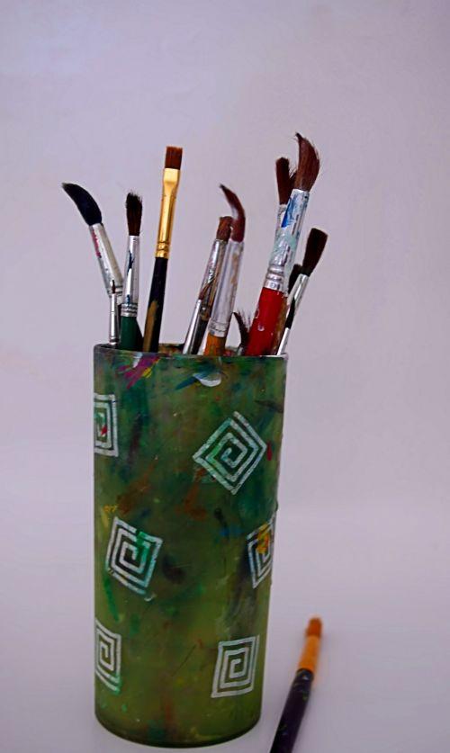 dažyti, šepečiai, menas, amatų, dažymas, kurti, kūrybingas, reikmenys, dažymo teptukai