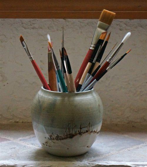 dažymo teptukai,akvarelė,menas,amatų,dažyti,natūralus,akrilas,Molinė puodynė,rankų darbo