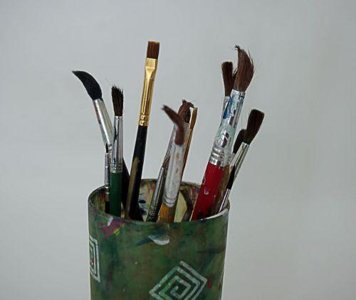dažyti, šepečiai, Iš arti, menas, amatų, hobis, dažymas, kūrybingas, reikmenys, šepečiai arti