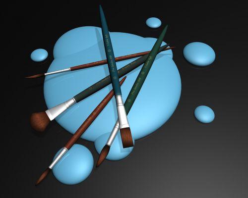 teptukas,purslų,šepetys,blot,dažyti,dažų teptuku,mėlynas,šepečiai