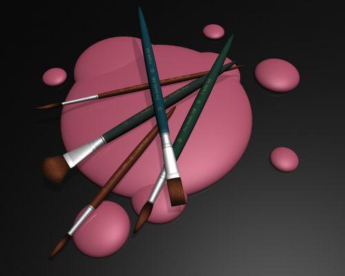 teptukas,purslų,šepetys,blot,dažyti,dažų teptuku,rožinis,šepečiai