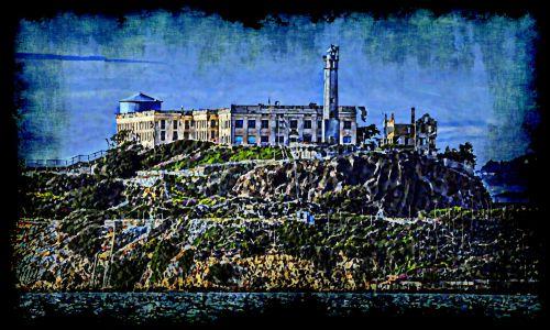alcatraz, Grunge, kalėjimas & nbsp, įkalintas, sala, alcatraz & nbsp, sala, San & nbsp, francisco, nudažyta alcatraz sala