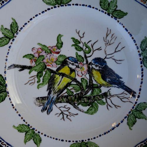 Senovinis, indai, virtuvė, virtuvės, plokštė, plokštės, paukštis, paukščiai, laukinė gamta, gamta, keramika, keramika, keramika, porcelianas, vintage, klasikinis, antikvariniai daiktai, senas, victorian, victoriana, dažytos paukščių plokštelės dizainas