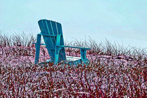 vandenynas, jūra, papludimys, stendas, sėdynė, sėdėti, sėdi, turkis, meno, dažytos, dažytos kėdės žolėje