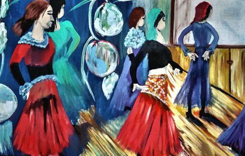 dažytos šokėjos,akriliniai dažai,drobė,dažymo teptukai
