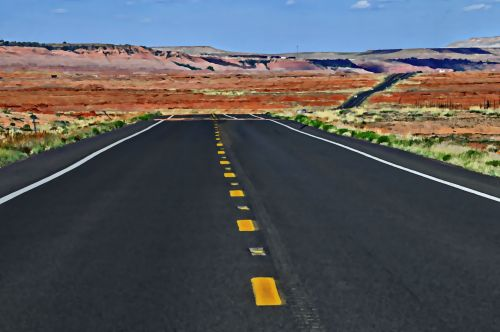 dykuma, Arizona, greitkelis, kelias, kelionė, dažytos dykumos greitkelis