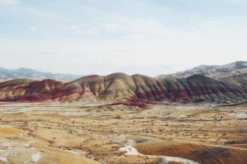 dažytos kalvos,oregonas,raudona,spalvinga,dažytos,kalnas,gamta,vaizdingas,vasara,Hillside,kelionė,kraštovaizdis
