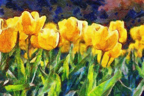 Dažymas, Aliejus, Tulpės, Impresionizmas, Gėlės, Gamta, Flora, Sodas, Laukinės Gėlės, Laukinė Flora, Geltonos Gėlės, Laukiniai, Fotomanipulación, Photoshop