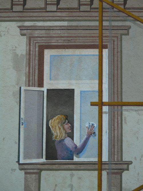 dažymas,pastatų dažymas,pastatas,vaizdas,moteris,langas,švarus,nušluostyti
