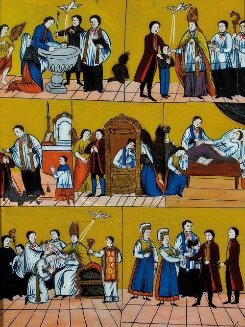 dažymas,stiklo atvirkštinis dažymas,indėnai,septyni sakramentai,slovenia,menas