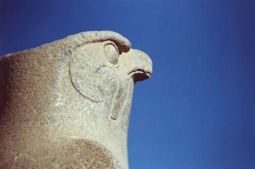 meno, iliustracija, dažymas, paukštis, horas, edfu, Egiptas, statula, senovės, akmuo, masyvi, raižyti, dangus, senas, senovė, Egipto horo statulos tapyba
