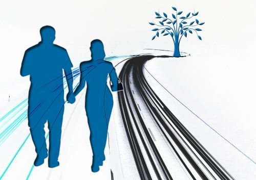 pora,vyras,moteris,pora,kartu,dviems,siluetas,toli,kreivė,medis,kelias,toli,platus,galutinis taškas