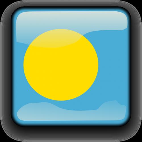 Palau,vėliava,Šalis,Tautybė,kvadratas,mygtukas,blizgus,nemokama vektorinė grafika