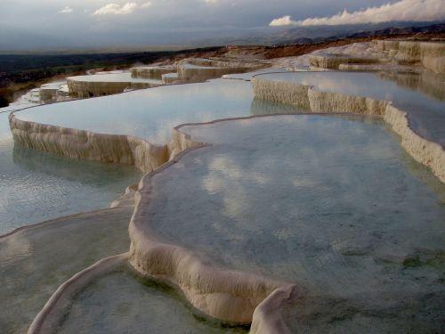 pamukalė,kalkių terasos,plaukti,kalcio,Unesco,kalkakmenis,Turkija,kraštovaizdis,mineralinis,terminiai šaltiniai,vanduo