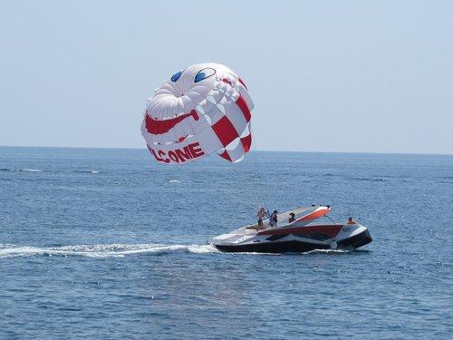parašiutas, jūra, pramogų, vandens, Motorolerių, bananų, linksma, papludimys, vasaros, atostogos, žmonių, laisvalaikis, laimingas, šventė, kelionė, pakrantės, aktyvus