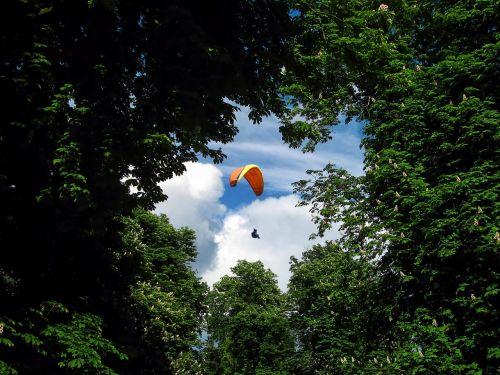 paragleris,paragliding,plūdė,slide,vėjas,Sportas,miškas,laistymas,pavasaris,medžiai,kaštonas,mėlynas,dangus,skristi,Ekstremalus sportas,parašiutautojas,debesys,vasara,varzybos,sklandytuvu,oro sportas,projektas