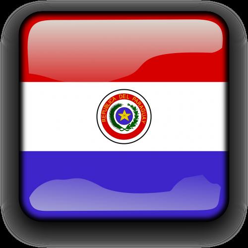 paragvajus,vėliava,Šalis,Tautybė,kvadratas,mygtukas,blizgus,nemokama vektorinė grafika