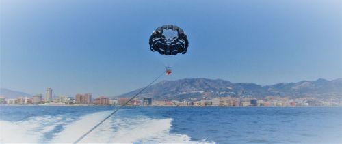 fuengirola, benalmadena, Ispanija, costa, del, sol, šventė, turizmas, vandens sportas, piratas, parasailing, linksma, jūra, Viduržemio jūros, viešbučiai, kalnai, kranto, parasailing costa del sol