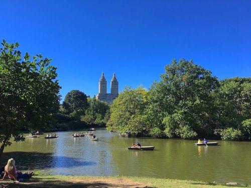 parkas,ežeras,moteris,valtys,žmonės,saulės šviesa,vanduo,miesto,miestas,medžiai,vasara,lauke,saulėtas,dangus,mėlynas,dienos metu,šviesus,miesto parkas,nyc,šešėliai,centrinis parkas,Niujorkas,usa,amerikietis,Manhatanas,pastatas,žolė