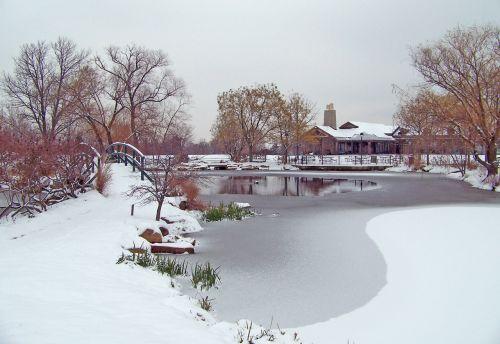 sušaldyta, tvenkinys, žiema, ledas, sniegas, medžiai, tiltas, iš dalies užšaldytas tvenkinys