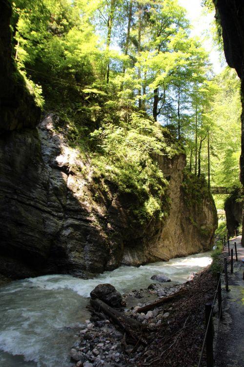 partnachklamm,upė,lenktynės,Garmisch partenkirchen,Gorge,Rokas,dabartinis,siena