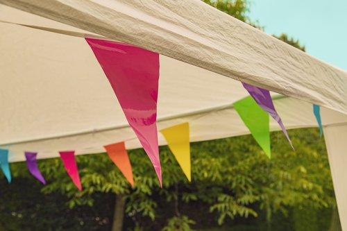vakarėlis, palapinė, vlagjes, spalvinga, spalvos, linksma, šventė, vėliavos, pramogų, poilsio, renginys