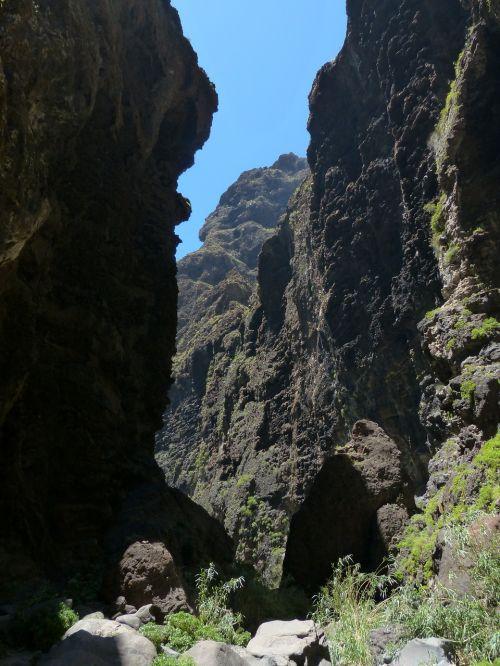 praėjimas,maska ravis,Rokas,Gorge,žygis,Tenerifė,Kanarų salos,kalnai,Teno kalnai