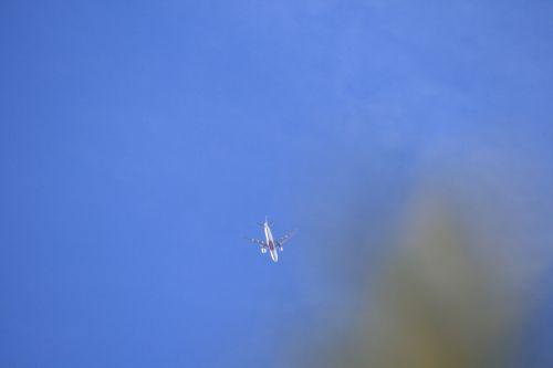 orlaivis, reaktyvinis, keleivis, debesis, tamsi, rūkas, plonas, dangus, keleivinis jet ir rūko debesis