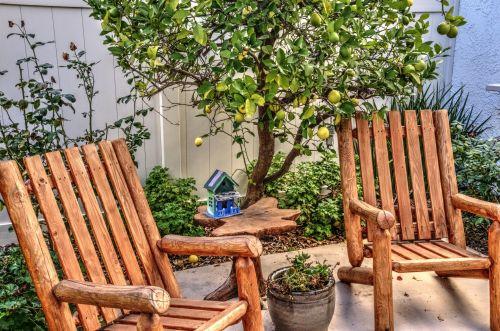 terasa, terasa & nbsp, kėdės, medis, citrina, citrina & nbsp, medis, namai, komfortas, sėdynė, pramogauti, terasos kėdės ir citrinų medis