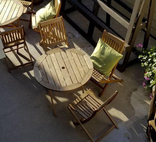 stali & nbsp, kėdės, beachwood, lauko & nbsp, baldai, terasa & nbsp, baldai, pietauti, lauke, žalias, mediena, peržiūrėkite & nbsp, iš & nbsp, aukščiau, kiemo vaizdas saulėje