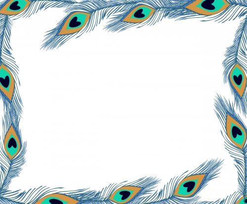 rėmas, Povas plunksnos, menas, plunksna, Povas & nbsp, plunksnos, paukštis, plumėjimas, plumijas, mėlynas, gražus, sienos, apvadu, iliustracija, Scrapbooking, Povas plunksnos rėmas