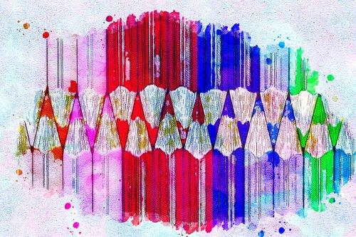 Pieštukai, spalva, menas, Anotacija, akvarelė, Vintage, meninis, dizainas, marškinėliai, Aquarelle, dažų Šļakstēties, skaitmeninis menas, skaitmeninis dažai, piešimo, Nemokama iliustracijos