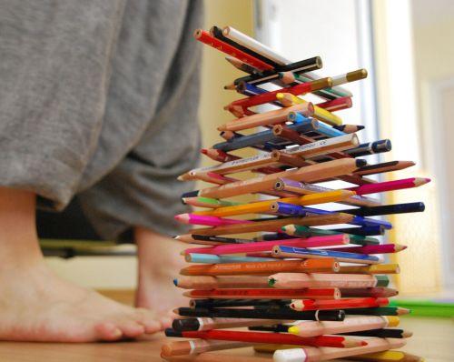 pieštukai, spalva, pėdos, bokštas, vaivorykštė, raudona, žalias, mediena, spalvos, geltona, mėlynas, spalva, dizainas, oranžinė
