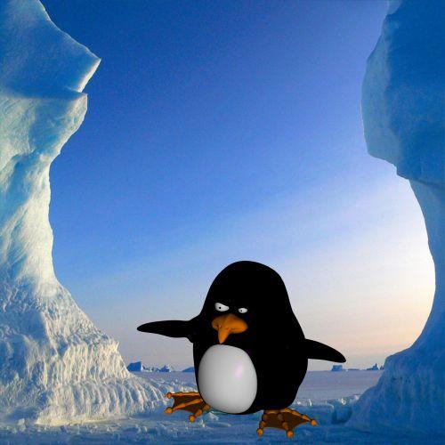 pingvinas, tonas, animacinis filmas, piešimas, izoliuotas, mėlynas, gyvūnas, arktinė, balta, juoda, ledas, labai, fonas, šaltas, 3d, pingvinas arktika