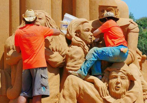 žmonės, vyrai, smėlis, smėlio skulptūra, skulptūra, varzybos, skulptūra, australia, frankston, darbo, papludimys, vasara, pajūryje, turizmas, be honoraro mokesčio