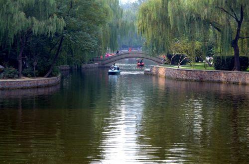 parkas, vanduo, valtys, tautų & nbsp, parkas, Zhengzhou, Kinija, vaizdingas, poilsis, laisvalaikis, tautų parkas
