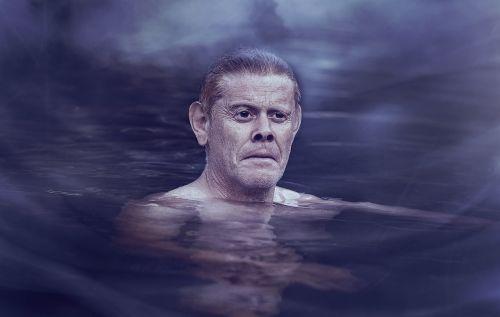 asmuo, žmogus, Patinas, vanduo, plaukti, šlapias, rūkas, niūrus, šaltas, karikatūra