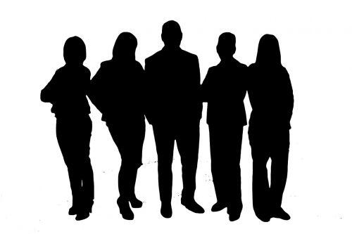 Asmeninis,grupė,komanda,bendruomenė,kartu,siluetai,darbo bendruomenė