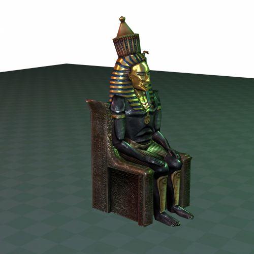 faraonas, sėdi, sostas, 3d, piešimas, dievas, auksas, Egiptas, piktograma, kėdė, pavadinimas, senovės, egyptian, simbolis, izoliuotas, grindys, faraonas 1