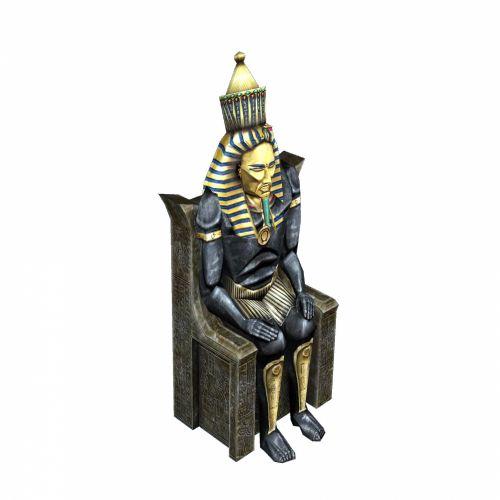 3d, vaizdas, faraonas, balta, karalius, egyptian, valdovas, valstybė, kėdė, sostas, dievas, skulptūra, faraonas ii