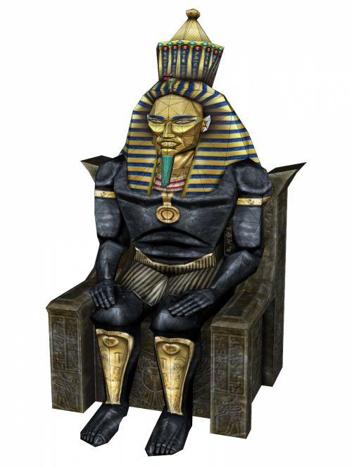 3d, piešimas, faraonas, Egiptas, egyptian, pavadinimas, menas, skulptūra, senovės, karalius, faraonas